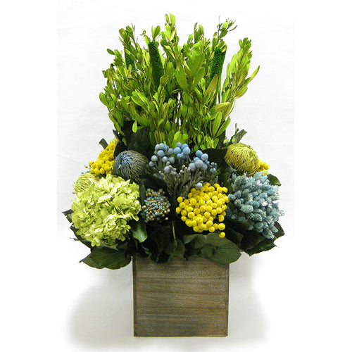 Wooden Cube Container Brown Stain - Integ Green w/ Blue/Yellow Multicolor Banksia, Brunia, Pharalis & Hydrangea Basil..