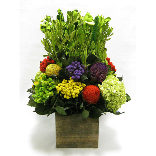 Wooden Cube Container Brown Stain - Integ Green w/ Multicolor Banksia, Brunia, Pharalis & Hydrangea Basil..