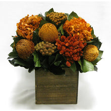 Load image into Gallery viewer, Wooden Cube Container Brown Stain - Terracotta Banksia, Brunia, Pharalis & Hydrangea Rust Brown..