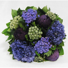 Load image into Gallery viewer, [WCF-GYS-BKHDPU] Wooden Flared Container Small - Banksia Purple, Brunia Natural & Hydrangea Purple