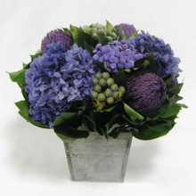 Load image into Gallery viewer, Wooden Flared Container Small - Banksia Purple, Brunia Natural & Hydrangea Purple