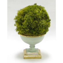 Load image into Gallery viewer, Small Wooden Footed Bowl Grey Green - Reindeer Moss Topiary Ball Basil