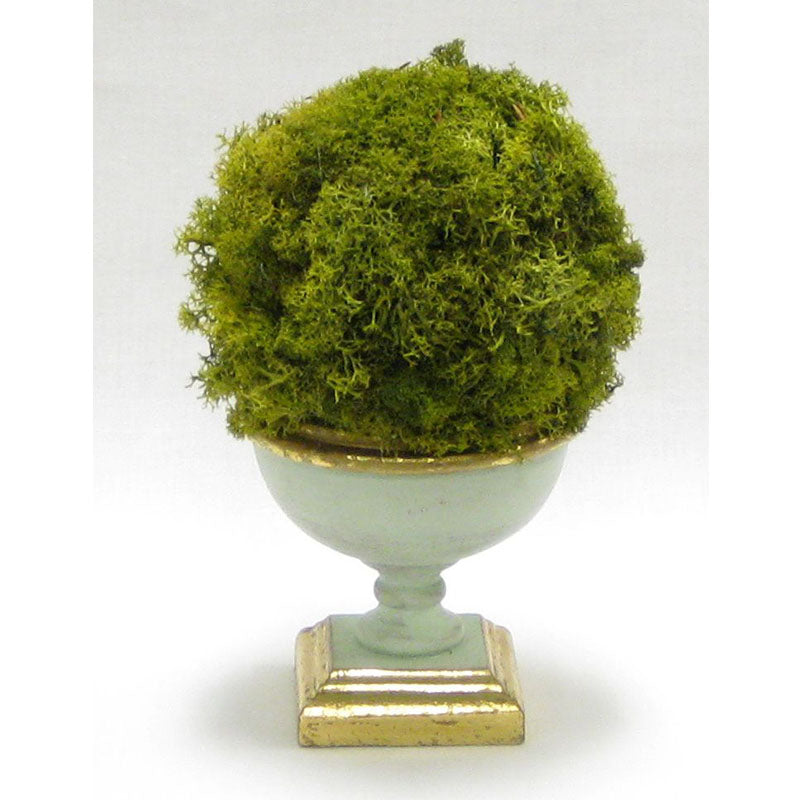 Small Wooden Footed Bowl Grey Green - Reindeer Moss Topiary Ball Basil