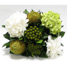 Load image into Gallery viewer, [WMRPM-BA-HDBHDW] Wooden Mini Rect Container Antique Black - Brunia Yellow, Banksia Spring Green & Hydrangea Basil and White