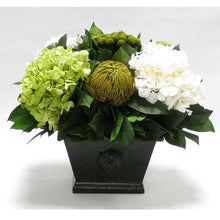 Load image into Gallery viewer, Wooden Mini Rect Container Antique Black - Brunia Yellow, Banksia Spring Green & Hydrangea Basil and White
