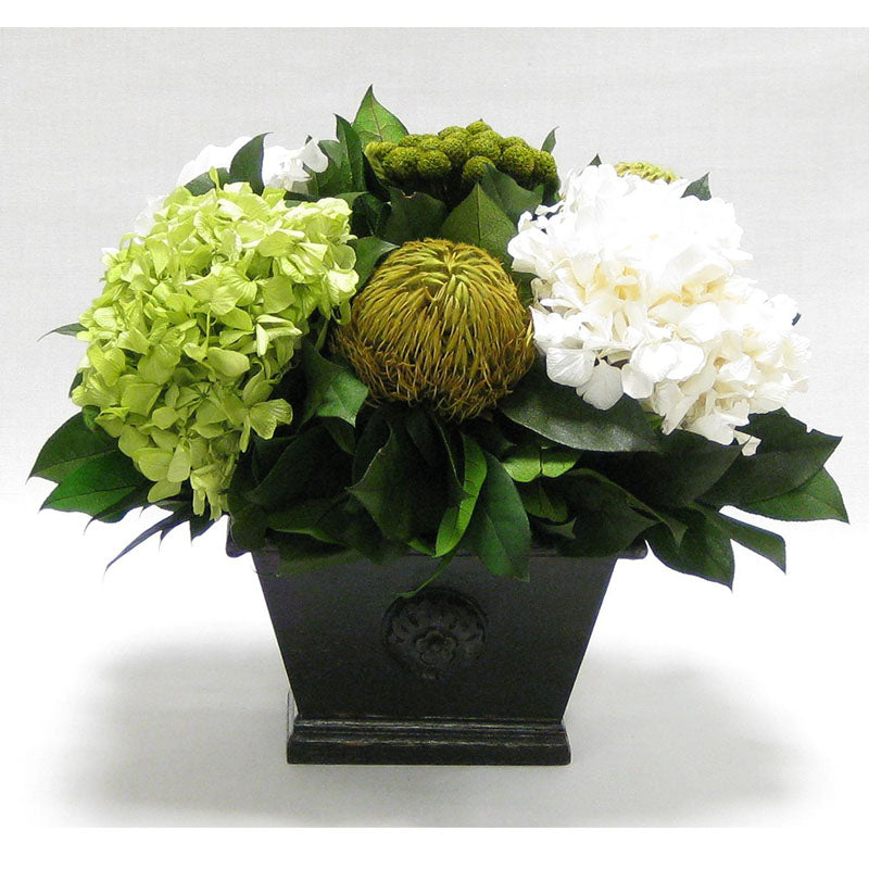 Wooden Mini Rect Container Antique Black - Brunia Yellow, Banksia Spring Green & Hydrangea Basil and White