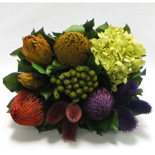 Load image into Gallery viewer, [WMRPM-BA-MLP5] Wooden Mini Rect Container Antique Black - Banksia Red, Purple, Yellow, Teasil Burgundy, Purple & Hydrangea Basil