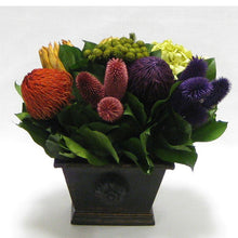 Load image into Gallery viewer, Wooden Mini Rect Container Antique Black - Banksia Red, Purple, Yellow, Teasil Burgundy, Purple & Hydrangea Basil