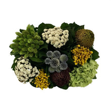 Load image into Gallery viewer, [WMRPM-DG-ECHDB] Wooden Mini Rect Container w/ Medallion Dark Blue Grey w/ Gold - Echinops w/Banksia, Brunia, Pharalis & Hydrangea Basil