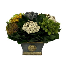 Load image into Gallery viewer, Wooden Mini Rect Container w/ Medallion Dark Blue Grey w/ Gold - Echinops w/Banksia, Brunia, Pharalis & Hydrangea Basil