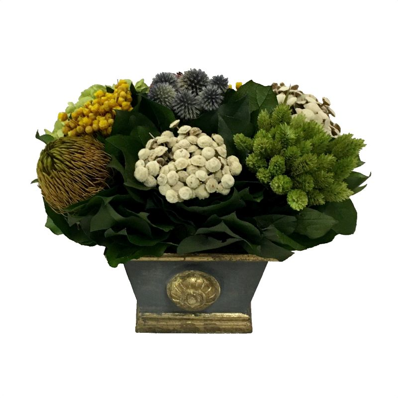 Wooden Mini Rect Container w/ Medallion Dark Blue Grey w/ Gold - Echinops w/Banksia, Brunia, Pharalis & Hydrangea Basil