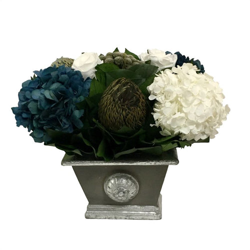 Wooden Mini Rect Container w/ Medallion Dark Grey w/ Silver - Roses White, Brunia Natural Brunia, Hydrangea Natural Blue & White