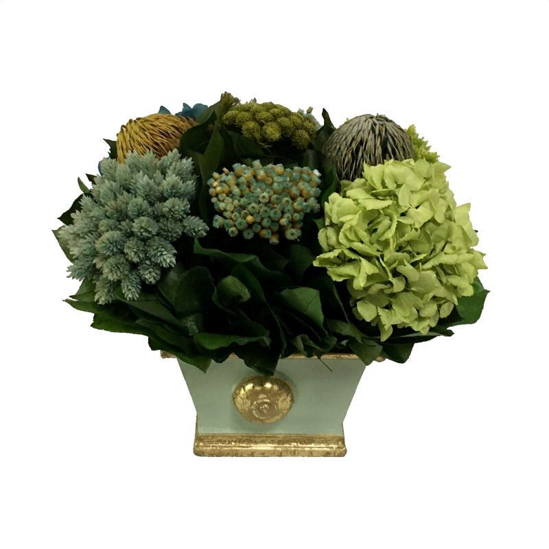 Wooden Mini Rect Container w/ Medallion Grey Green w/ Gold - Banksia, Pharalis & Hydrangea Basil & Natural Blue