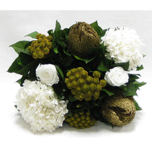 Load image into Gallery viewer, [WMRPM-GG-RBKGOHDW] Wooden Mini Rect Container Grey Green - Roses White, Banksia Gold, Brunia Gold & Hydrangea White