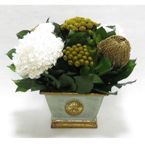 Wooden Mini Rect Container Grey Green - Roses White, Banksia Gold, Brunia Gold & Hydrangea White