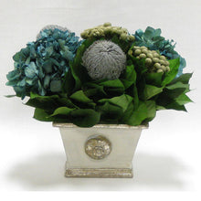 Load image into Gallery viewer, Wooden Mini Rect Container Gray Silver - Banksia Gray, Brunia Natural & Hydrangea Natural Blue