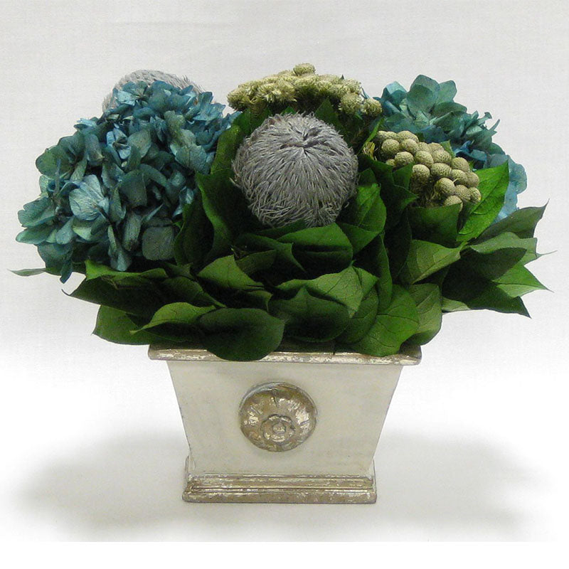 Wooden Mini Rect Container Gray Silver - Banksia Gray, Brunia Natural & Hydrangea Natural Blue