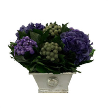Load image into Gallery viewer, Wooden Mini Rect Container Gray Silver - Banksia Purple, Brunia Natural, & Hydrangea Purple