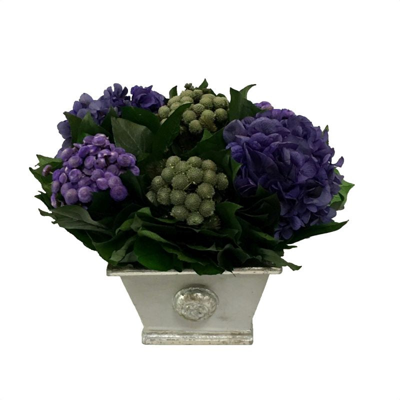 Wooden Mini Rect Container Gray Silver - Banksia Purple, Brunia Natural, & Hydrangea Purple