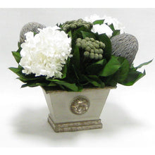 Load image into Gallery viewer, [WMRPM-GS-RBKBRHDW] Wooden Mini Rect Container Gray Silver - Roses White, Banksia Lt Gray, Brunia Nat & Hydrangea White