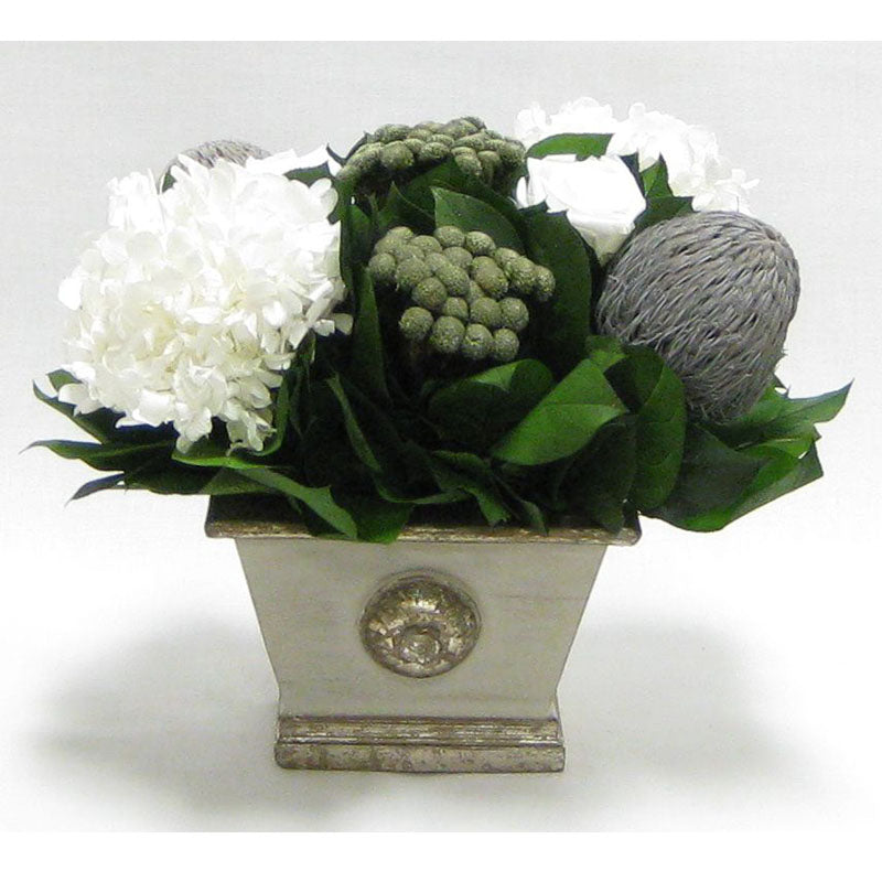 Wooden Mini Rect Container Gray Silver - Roses White, Banksia Lt Gray, Brunia Nat & Hydrangea White