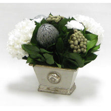 Load image into Gallery viewer, [WMRPM-GS-RBKSIHDW] Wooden Mini Rect Container Gray Silver - Roses White, Banksia Silver, Brunia Natural & Hydrangea White