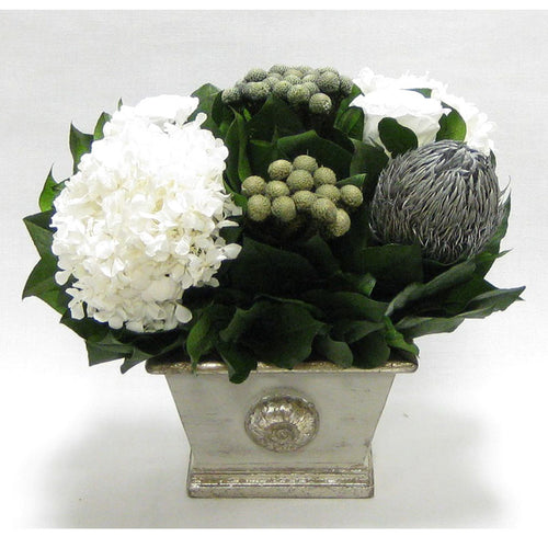 Wooden Mini Rect Container Gray Silver - Roses White, Banksia Silver, Brunia Natural & Hydrangea White