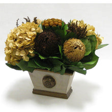 Load image into Gallery viewer, [WMRPM-PD-MLBNI] Wooden Mini Rect Container w/ Medallion - Patina Distressed w/ Bronze - Multi Brown and Hydrangea Ivory