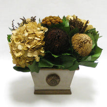 Load image into Gallery viewer, Wooden Mini Rect Container w/ Medallion - Patina Distressed w/ Bronze - Multi Brown and Hydrangea Ivory
