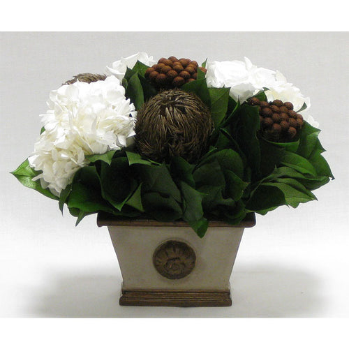 Small Wooden Rect w/Medallion Container Patina Distressed w/Bronze - Roses White, Banksia Bronze, Brunia Brown & Hydrangea