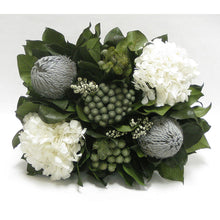 Load image into Gallery viewer, [WMRPM-WA-BKGYHDW] Wooden Mini Rect Container Weathered Antique - Banksia Gray, Brunia Natural & Hydrangea White