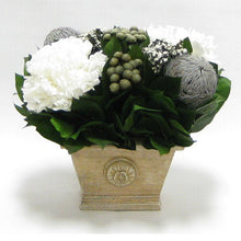Load image into Gallery viewer, Wooden Mini Rect Container Weathered Antique - Banksia Gray, Brunia Natural & Hydrangea White