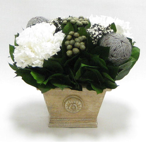 Wooden Mini Rect Container Weathered Antique - Banksia Gray, Brunia Natural & Hydrangea White