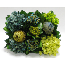 Load image into Gallery viewer, [WMRPM-WA-HDBHDNB] Wooden Mini Rect Container Weathered Antique - Banksia, Pharalis & Hydrangea Basil & Natural Blue