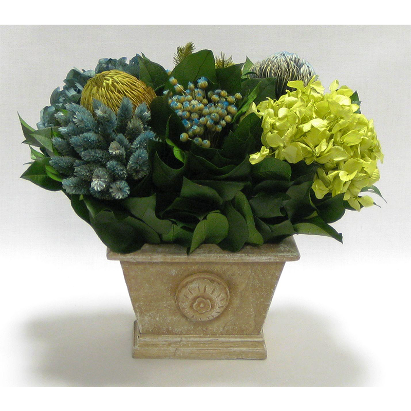 Wooden Mini Rect Container Weathered Antique - Banksia, Pharalis & Hydrangea Basil & Natural Blue