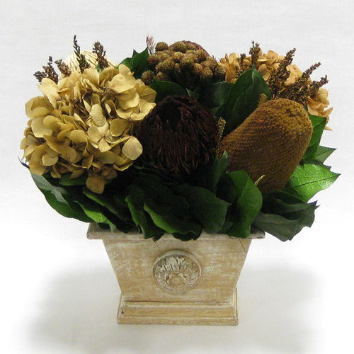 Wooden Mini Rect Container Weathered Antique - Multi Brown and Hydrangea Ivory