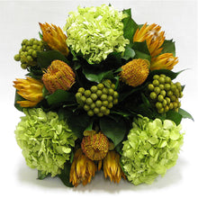 Load image into Gallery viewer, [WMSP-GG-BKCOCHDB] Wooden Mini Square Container Gray/Green - Banksia Coccinea Basil, Protea Yellow & Hydrangea Basil