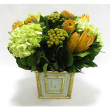 Load image into Gallery viewer, Wooden Mini Square Container Gray/Green - Banksia Coccinea Basil, Protea Yellow & Hydrangea Basil