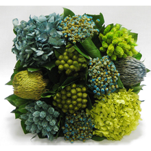 Load image into Gallery viewer, [WMSP-GG-HDBHDNB] Wooden Mini Square Container Gray/Green - Banksia, Pharalis & Hydrangea Basil & Natural Blue