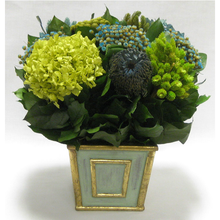 Load image into Gallery viewer, Wooden Mini Square Container Gray/Green - Banksia, Pharalis & Hydrangea Basil & Natural Blue