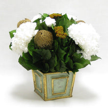 Load image into Gallery viewer, [WMSP-GG-RBKGOHDW] Wooden Mini Square Container Gray/Green - Roses White, Banksia Gold, Brunia Gold & Hydrangea White