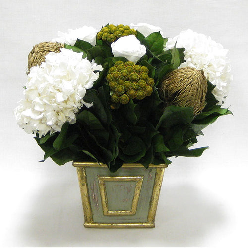 Wooden Mini Square Container Gray/Green - Roses White, Banksia Gold, Brunia Gold & Hydrangea White