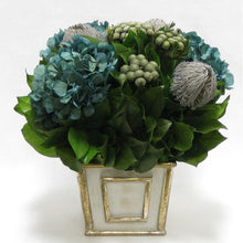 Load image into Gallery viewer, Wooden Short Rect. Container Antique Silver - Banksia Lt Grey, Brunia Nat & Hydrangea Natural Blue