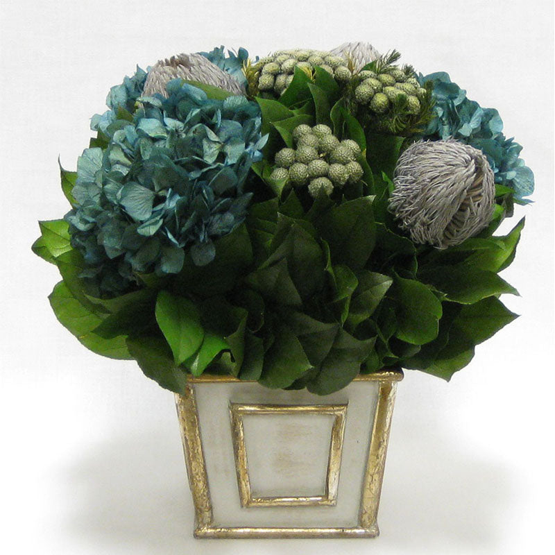 Wooden Short Rect. Container Antique Silver - Banksia Lt Grey, Brunia Nat & Hydrangea Natural Blue