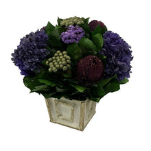 Load image into Gallery viewer, [WMSP-GS-BKHDPU] Wooden Mini Square Container Grey w/ Silver - Banksia Purple, Brunia Natural & Hydrangea Purple