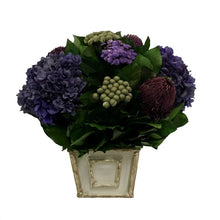 Load image into Gallery viewer, Wooden Mini Square Container Grey w/ Silver - Banksia Purple, Brunia Natural & Hydrangea Purple