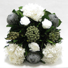 Load image into Gallery viewer, [WMSP-GS-RBKSIHDW] Wooden Mini Square Container - Antique Gray w/ Silver - Roses White, Banksia Silver, Brunia Natural & Hydrangea White