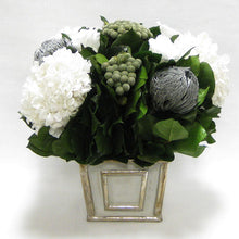 Load image into Gallery viewer, Wooden Mini Square Container - Antique Gray w/ Silver - Roses White, Banksia Silver, Brunia Natural & Hydrangea White