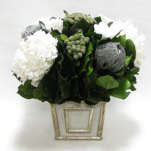 Wooden Mini Square Container - Antique Gray w/ Silver - Roses White, Banksia Silver, Brunia Natural & Hydrangea White