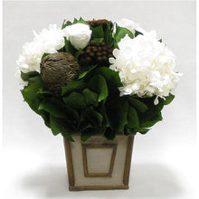 Load image into Gallery viewer, Small Wooden Square Container Patina Distressed w/ Bronze - Roses White, Banksia Bronze, Brunia Brown & Hydrangea White